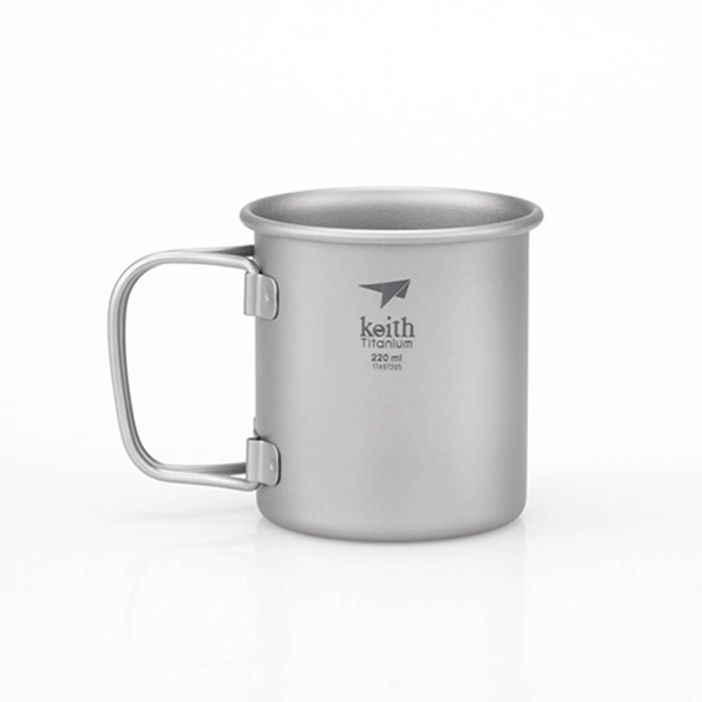 Keith Single-Wall Titanium Mug with Folding Handle 220 ml.