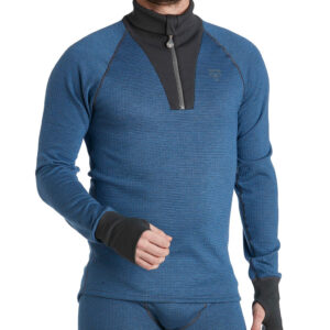 Termo Original 2.0 Roll Neck With Zip blå underställströja av tencel.