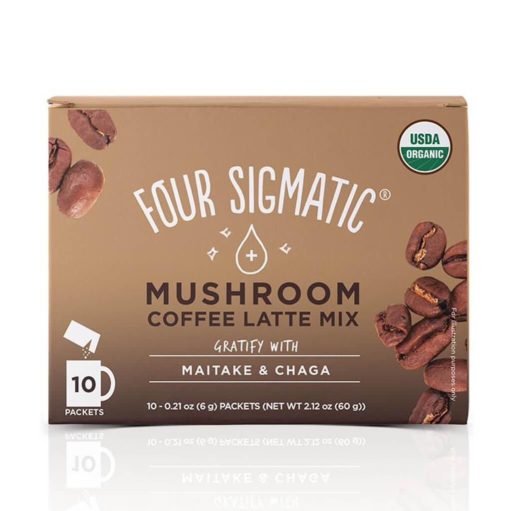 Mushroom Coffee Latte Mix Maitake And Chaga i förpackning.