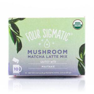 Mushroom Matcha Latte Mix With Maitake grönt te-latte I förpackning.